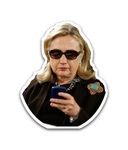 Too many friends texting you at once? About to head into a work meeting? Send the 'It's Business Time' Hillary Imoji to let others know where your priorities are.