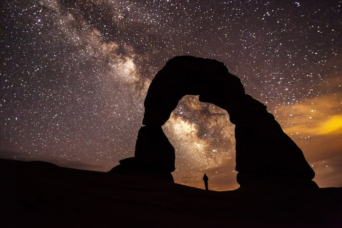 Delicate Arch is probably Utah's most famous rock formation, and if you get a chance to visit it at night, you might also get some incredible photo opportunities.