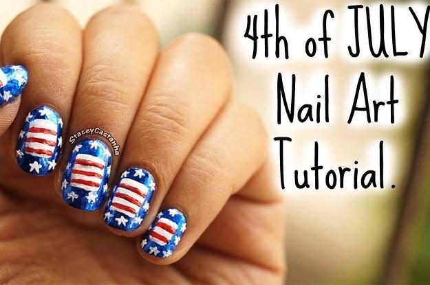 4th Of July Nail Art Usa Flag Nails