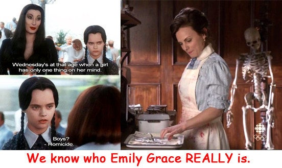 This is a no brainer really. It's so obvious. Emily's obsession with skeleton's, corpses, brains al fresco, and all things morbid? Besides she just looks like a member of the Addams family. We know what asylum she escaped from. The question is...whom is that sharpened scalpel intended for?
