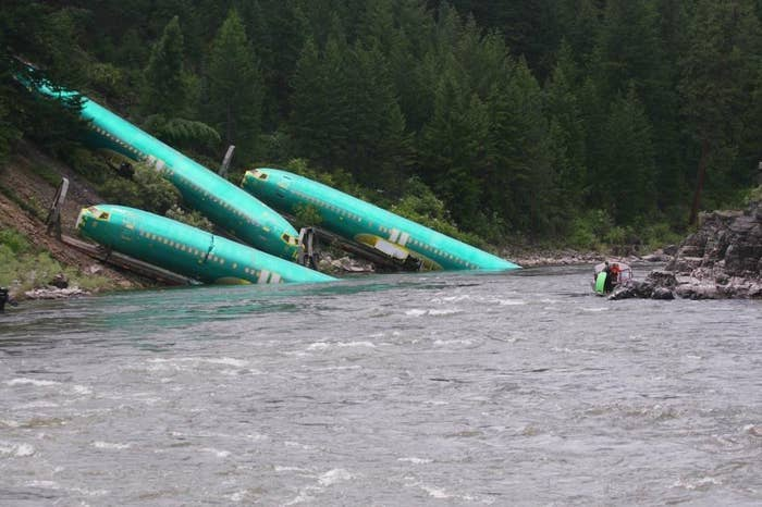 Boeing said the train was taking the parts to its factories in Washington state from Spirit Aerosystems when the accident occurred.