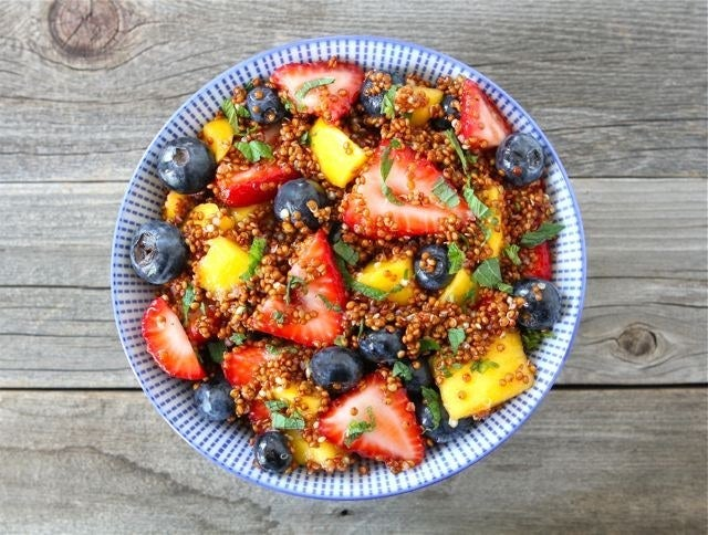A fruit cup is fine, but adding quinoa turns it into an actual meal, not a sad excuse for breakfast that'll leave you starving an hour later. Recipe here.