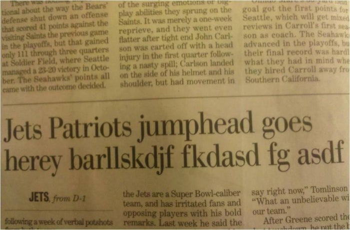 Timeless headline from the New Orleans Times-Picayune, 2011