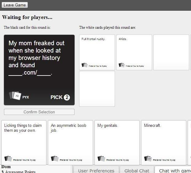 cards against humanity xyzzy online