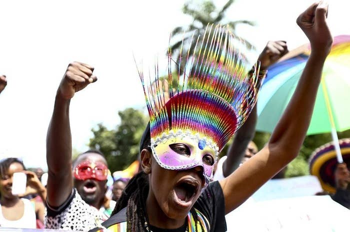 Participants in a pride event held in Uganda this weekend.