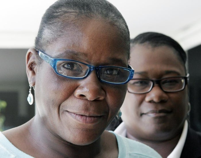 Pinnock (left) stands with her attorney, Caree Harper, during an interview Aug. 10 in Los Angeles.
