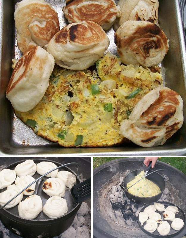Dutch Oven Scrambled Eggs and Biscuits