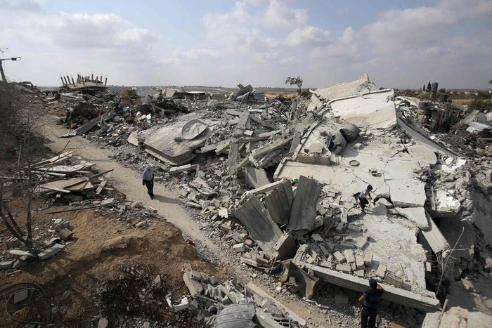 The ruins of houses destroyed during the Israeli offensive in Johr El-Deek village near the central Gaza Strip, pictured here August 17.