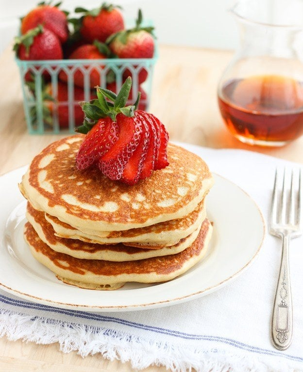 That's right, you can use quinoa to make pancakes. Awesome, right? It makes them really fluffy as well. View the full recipe here.