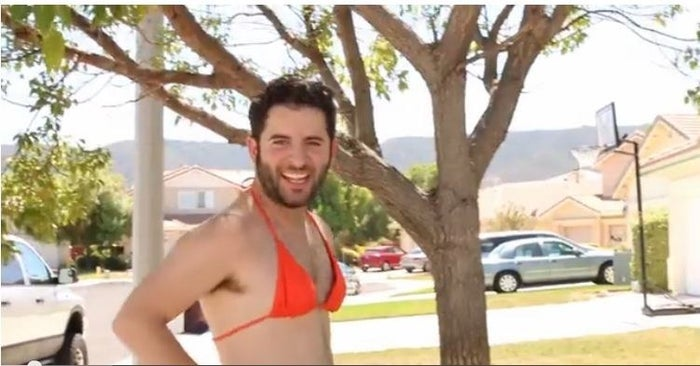 Anthony is from Southern California and he is a cool guy in a bikini who is here to take the ice bucket challenge.
