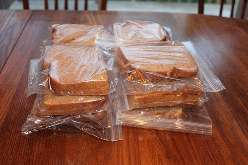 A great idea from Money-Saving Mom: These will keep just fine for about 4-6 weeks. Just take one out of the freezer in the morning, pack it, and it will be thawed and ready to go by lunch time.