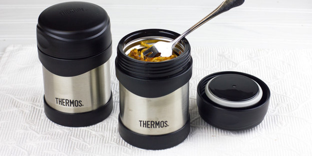 Heat up soup or pasta in the morning and pack it in a thermos to stay warm.