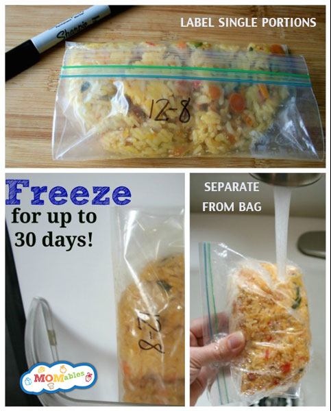 You can also freeze individual portions of rice or pasta and reheat them before you pack lunch.