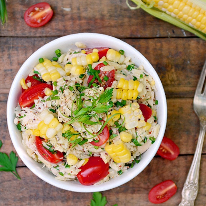 Not your gross potluck picnic chicken salad, this orzo-based dish actually gives chicken salad a good name.