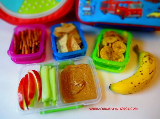 Most kids love peanut butter, so just send them to school with a bunch of different things to dip in it.