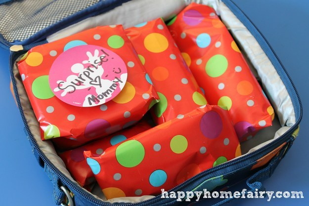 On birthdays and holidays, wrap each part of the lunch in gift wrap.