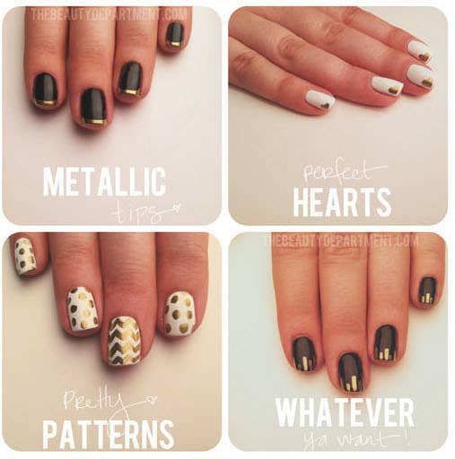 use a gold sharpie to make all kinds of easy designs - Nail Polish Design Ideas