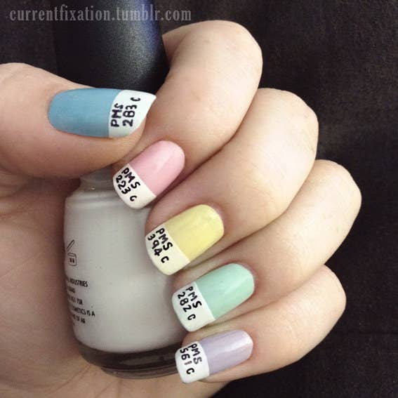 13. This adorable Pantone look is made with a thin sharpie marker. - 27 Lazy Girl Nail Art Ideas That Are Actually Easy