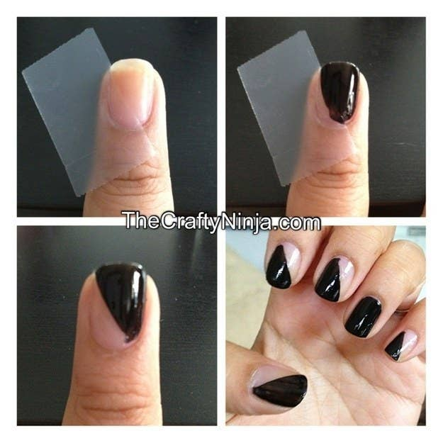 Or, use tape to create a simple diagonal shape. - 27 Lazy Girl Nail Art Ideas That Are Actually Easy