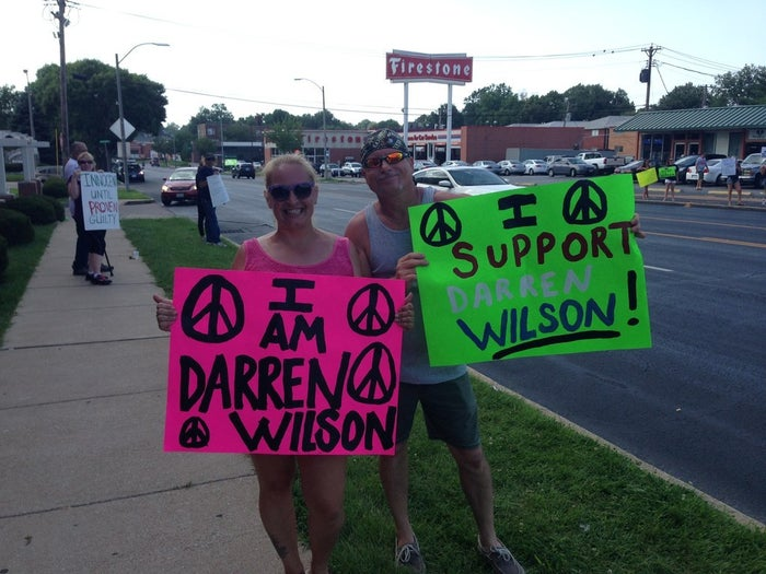 """Morrison, who used to live in Ferguson, said Wilson was trying to protect himself because he believed his life was in danger. """"And had I been terrified for my life I would have killed him too,"""" she explained, adding later that """"I totally believe what he did was the right thing.""""Despite ongoing conflicting reports about what happened during the shooting, many at the rally shared Morrison's view that Brown was in some way the aggressor, and that Wilson would ultimately be vindicated."""