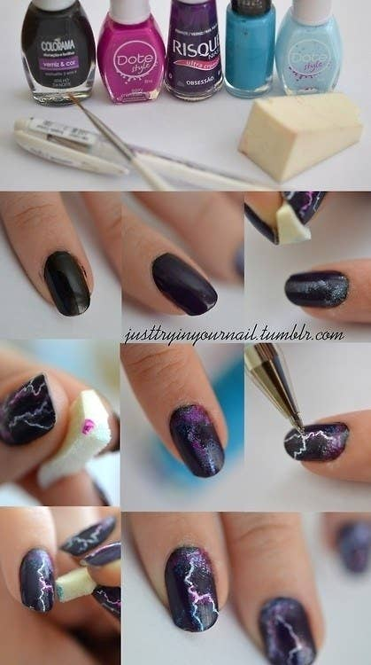 27 lazy girl nail art ideas that are actually easy this one is reverse nail art you scrape the polish off for the effect prinsesfo Gallery