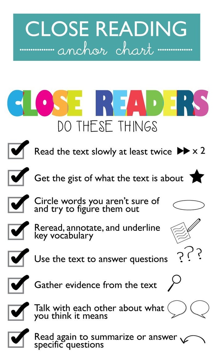 This anchor chart captures the gist of close reading. Use the checklist format to create bookmarks or laminated cheat sheets that students can use as tools as they read.