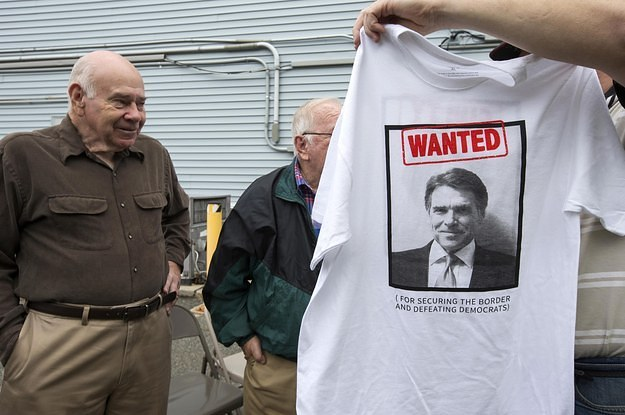 Rick perry is selling t shirts with his mugshot on it for Selling t shirts on facebook