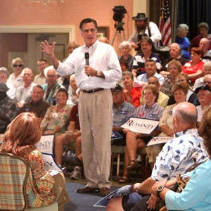 Mitt Romney speaks at a community center in The Villages during one of his many campaign swings during the 2012 election.