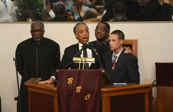 The Rev. Al Sharpton introduces Ramsey Orta at the funeral of Eric Garner at Bethel Baptist Church in Brooklyn on Wednesday, July 23.
