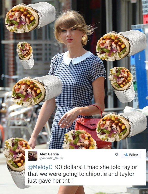 Proof That Taylor Swift Gave A Girl 90 To Eat At Chipotle