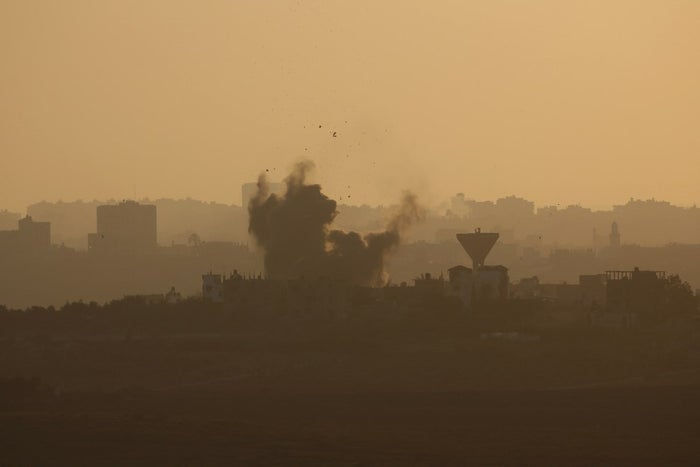Smoke rises in the Gaza Strip after an Israeli strike Monday.