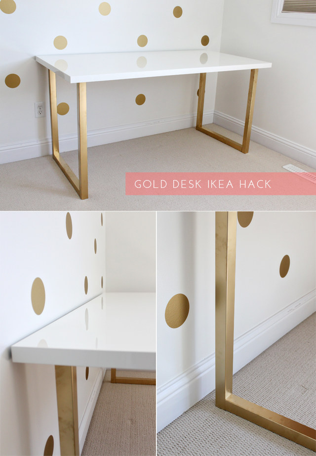 There are literally one million of these on Pinterest. Just Bella's gold desk hack is a pretty place to start.
