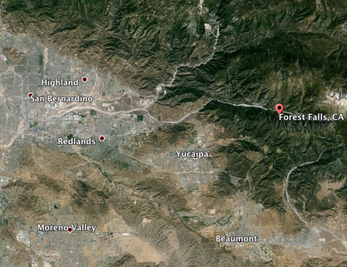 """San Bernardino Fire Capt. Kyle Hauducouer said that """"most roads are impassible due to mudflows"""" in Forest Falls."""