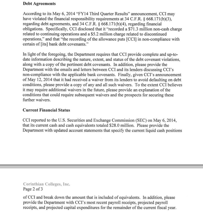 A May 13 letter from the Department of Education that the government was aware of many details of Corinthian College's financials.