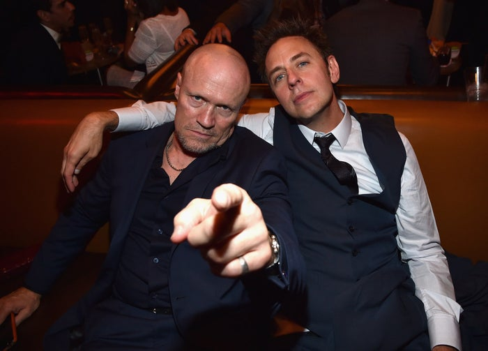 Michael Rooker and James Gunn at the world premiere of Guardians of the Galaxy on July 21.