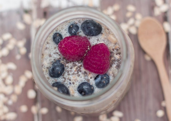 The very essence of a power breakfast: Oats, chia, and quinoa all pack a hefty protein punch, and the blueberries add a high dose of essential nutrients like heart-healthy potassium and Vitamin C. Recipe here.