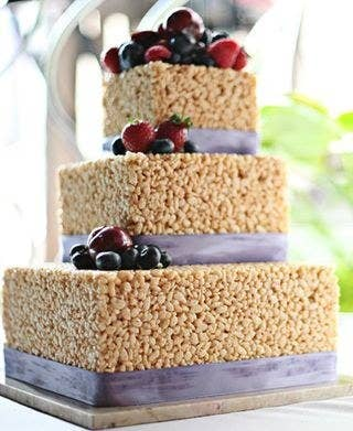 This couple took their love of Rice Krispie Treats to a whole new level with this wedding cake. And why not? It's stunning, classic, and certainly delicious!