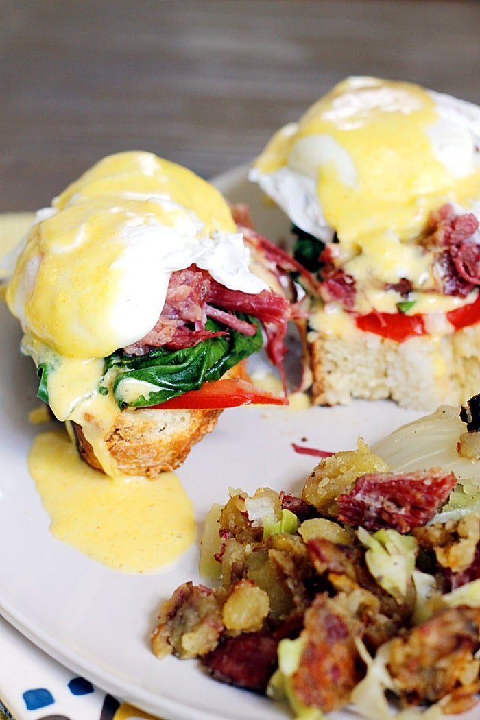 This version has a few more steps than most eggs benedict, unless you already have leftover corned beef and cabbage. Is that a thing people generally have lying around their kitchen? I don't really think so...but this does sound good! Get the full recipe from Fabtastic Eats.