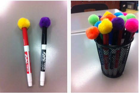 Stick pompoms to the end of your dry-erase markers for an instant eraser.