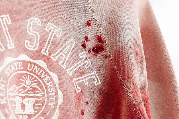 """Urban Outfitters Features """"Vintage"""" Red-Stained Kent State Sweatshirt"""