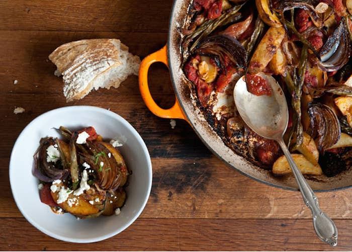 Veggie dutch oven delight: Green beans, tomatoes, onions, potatoes, and roasted zucchini. Get the recipe.