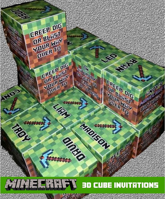 31 DIY Birthday Party Ideas That Will Blow Your Minecraft – 31 Party Invite
