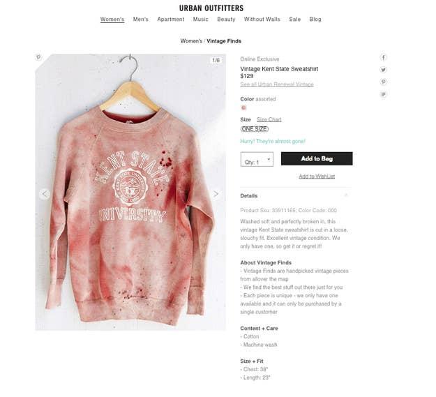 En septembre 2015, Urban Outfitters a retiré de sa collection un énième  produit controversé  un pull «Kent State University» tâché de sang. 2deed49049d7