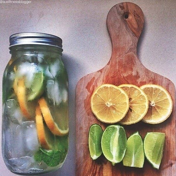 Sliced Lemon + Lime + Ice cubes + Mint leaves + Water + Mason Jar combo(Limes are great for digestion, constipation, and heart disease)