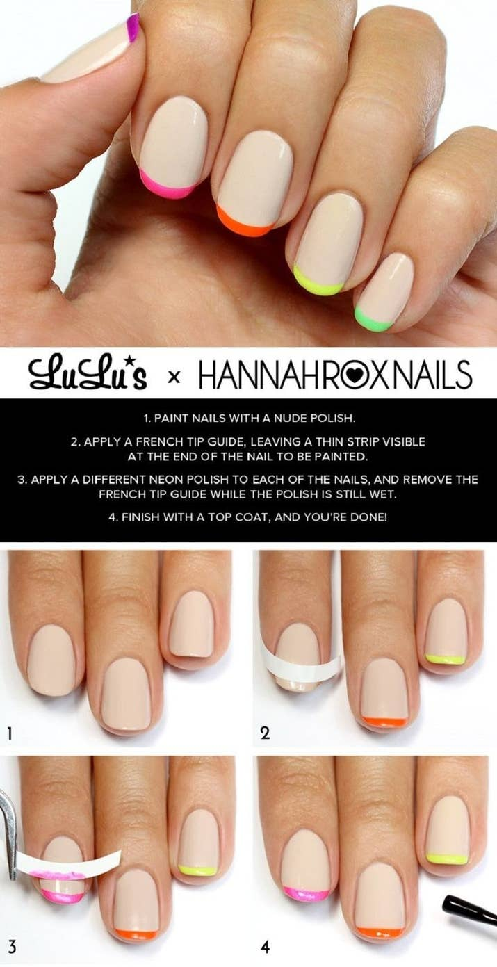20 diy nail tutorials you need to try this fall nude neon french tips solutioingenieria Images