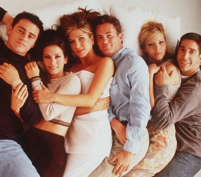 The cast of NBC's Friends, from left: Matt LeBlanc, Courteney Cox, Jennifer Aniston, Matthew Perry, Lisa Kudrow, and David Schwimmer.