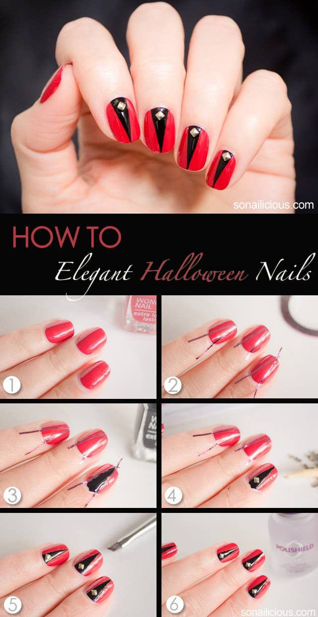 20 diy nail tutorials you need to try this fall elegant halloween nails tutorial here baditri Gallery