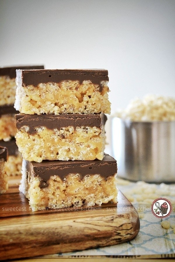 Healthier Chocolate and Peanut Butter Rice Krispies Treats