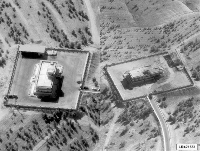 Pictures showing an ISIL Command and Control Center in Syria before (L) and after it was struck by bombs dropped by a U.S. F-22 fighter jets.