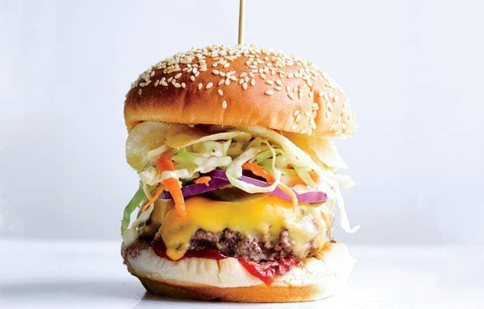 Potato chips on a burger. Slay, Bobby Flay. Get the recipe here.